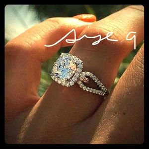 White Sapphire Wedding Ring Engagement Ring